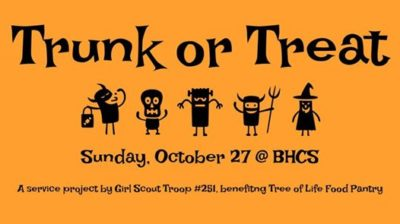 Trunk or Treat for the Tree of Life 2019